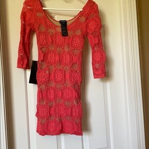bebe scoop neck coral and nude flower mesh…